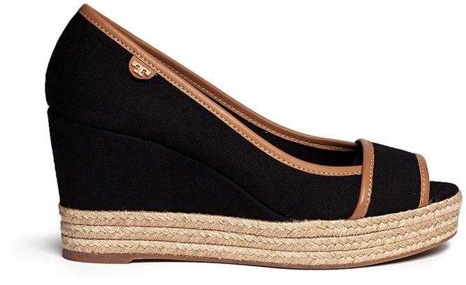 d998c4c98cce ... Black Canvas Wedge Sandals Tory Burch Majorca Canvas Espadrille Wedge  Sandals