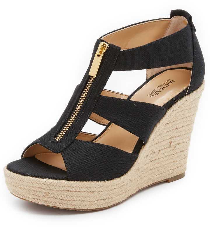 00559b8c9bd ... Black Canvas Wedge Sandals MICHAEL Michael Kors Michl Michl Kors Damita  Wedge Sandals ...