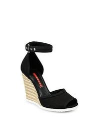 Prada Canvas Espadrille Wedge Sandals