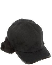 Gucci Fur Accented Gg Baseball Cap