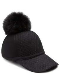 House Of Lafayette Fox Fur Pom Pom Wool Baseball Cap