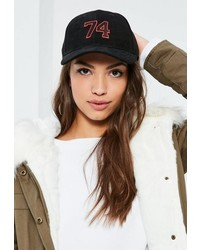 Missguided Black Faux Suede Varsity Baseball Cap
