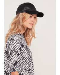 Missguided Satin Baseball Cap Black