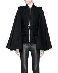 Alexander McQueen Belted Compact Wool Felt Cape Coat