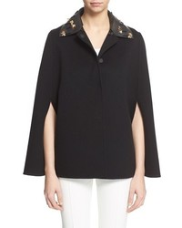 Fendi Bird Of Paradise Wool Cape With Removable Beaded Leather Collar