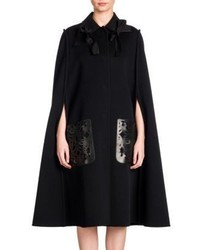 Fendi Bow Detail Double Face Wool Leather Cape