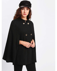Romwe Double Breasted Cape Coat