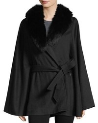 Sofia Cashmere Fur Shawl Collar Wool Cashmere Belted Cape Coat