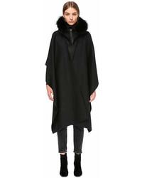 Mackage Helina X Wool Cloak With Fur Trim
