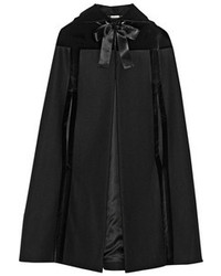 Alexander McQueen Hooded Velvet Trimmed Wool Cape