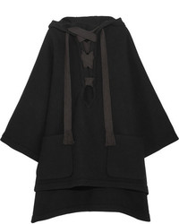 Chloé Iconic Hooded Wool Blend Cape Black