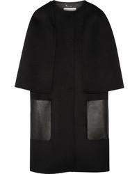 Fendi Leather Trimmed Wool Felt Coat Black