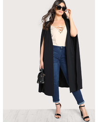 Romwe Solid Longline Cape Coat