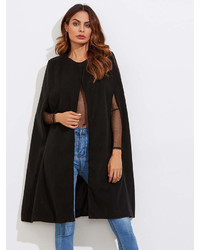 Romwe Wool Blend Cape Coat