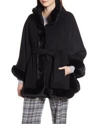 Ellen Tracy Wool Blend Cape Coat With Faux