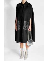 Fendi Wool Cape With Leather Pockets