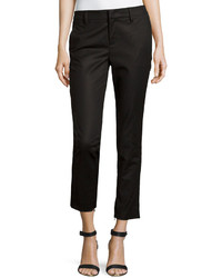 Vince Cropped Ankle Zip Trousers Black