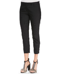 Brunello Cucinelli Cropped Sequined Fringe Pants