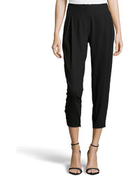 Halston Heritage Pleated Cropped Wool Knit Trousers Black