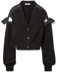 Adeam Tie Detailed Cotton Blend Cardigan Black