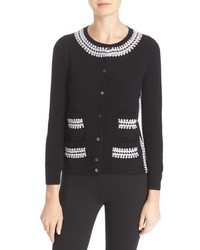Tory Burch Avery Crochet Trim Wool Blend Cardigan