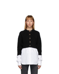 alexanderwang.t Black Bi Layer Oxford Shirting Cardigan