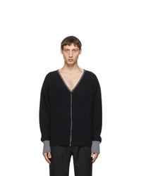 Random Identities Black Wool And Cashmere Bicolor Cardigan