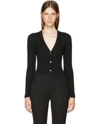 Versace Black Wool Rib Cardigan