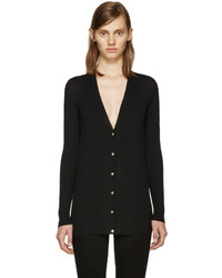 Versace Black Wool Ribbed Cardigan