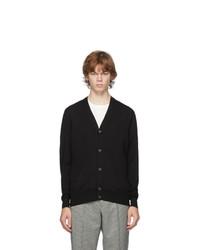 Alexander McQueen Black Wool Satin Stitch Cardigan