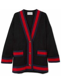 Gucci Grosgrain Trimmed Cotton Blend Tweed Cardigan Black