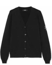 Versace Versus Embellished Stretch Knit Cardigan Black