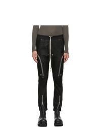 Rick Owens Black Leather Bauhaus Cargo Pants