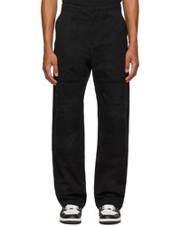 Marcelo Burlon County of Milan Black Twill Distressed Trousers