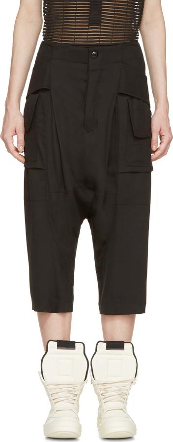 Rick Owens Black Creatch Cargo Sarouel Pants
