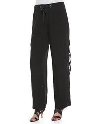 Go Silk Silk Cargo Pants Black Petite