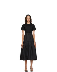 3.1 Phillip Lim Black Shirred T Shirt Dress