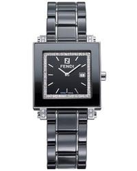 Fendi 30mm Ceramic Diamond Stainless Steel Square Watch Black