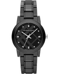 34mm black round ceramic watch with diamonds medium 219197