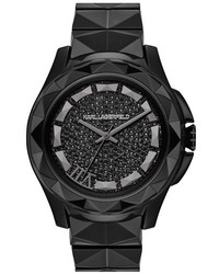 Karl Lagerfeld 7 Faceted Bezel Ceramic Bracelet Watch 44mm
