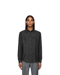 Z Zegna Black Chambray Shirt