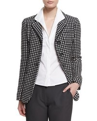 Armani Collezioni Long Sleeve Three Button Blazer Blackwhite