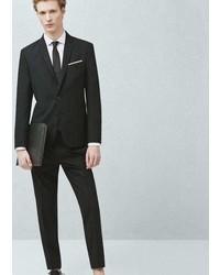 Mango Outlet Slim Fit Micro Check Suit Blazer