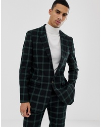ASOS DESIGN Slim Suit Jacket In Black And Green Windowpane Check