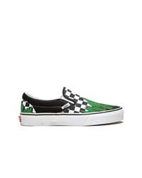Black Check Canvas Slip-on Sneakers