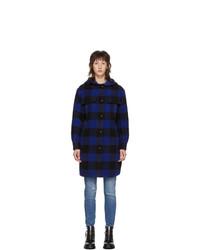 Rag and Bone Black And Blue Check Beck Coat