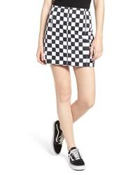 Tinsel Checkered Denim Miniskirt