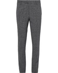 Saint Laurent Grey Slim Fit Prince Of Wales Checked Slub Wool Blend Suit Trousers