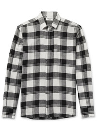 Distressed checked cotton flannel shirt medium 5053629