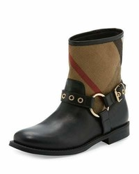 Black Check Leather Ankle Boots